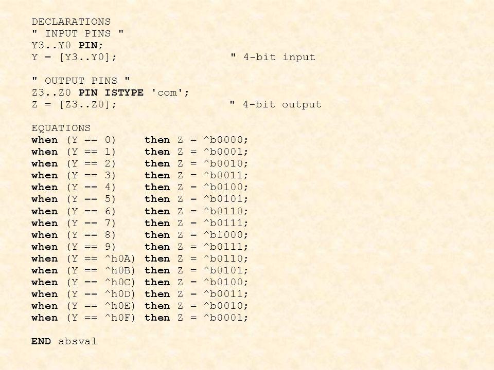DECLARATIONS INPUT PINS Y3..Y0 PIN; Y = [Y3..Y0]; 4-bit input. OUTPUT PINS
